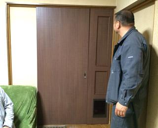 ペット用ルームドア「くぐりっこ」設置の様子 富山県 S邸